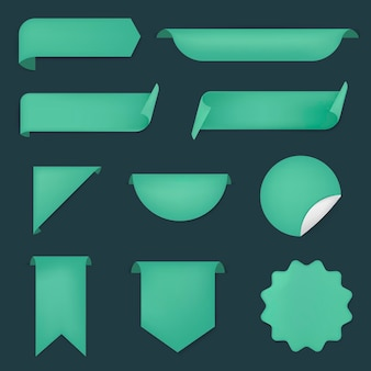 Etiqueta engomada de la bandera verde, conjunto de imágenes prediseñadas simple vector en blanco
