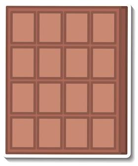 Etiqueta engomada de la barra de chocolate aislado en blanco
