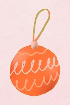 Etiqueta engomada de la bola de navidad, vector lindo dibujado a mano ilustración