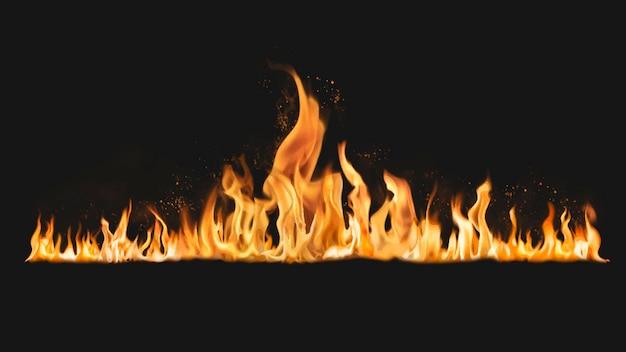 Etiqueta engomada del borde de la llama ardiente, vector de imagen de fuego realista