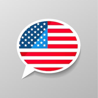 Etiqueta engomada brillante brillante en forma de burbuja de diálogo con bandera de estados unidos, concepto de idioma inglés americano