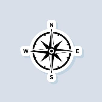 Etiqueta engomada de la brújula, logotipo, icono. vector. icono de rosa de los vientos. norte, sur, este y oeste. vector sobre fondo aislado. eps 10