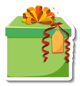 Etiqueta engomada de la caja de regalo aislada