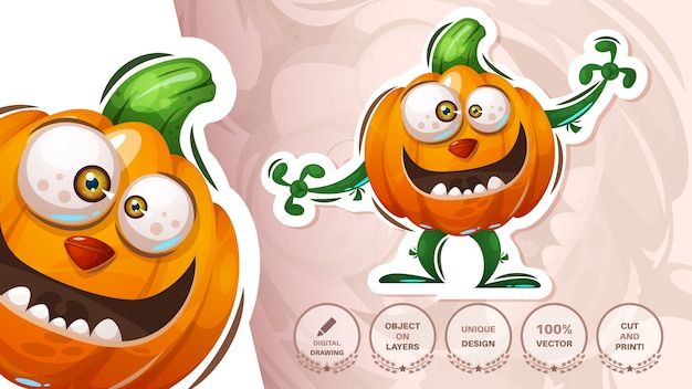 Etiqueta engomada de la calabaza de halloween - ilustración de terror
