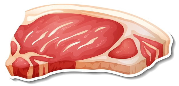 Etiqueta engomada de la carne cruda en blanco