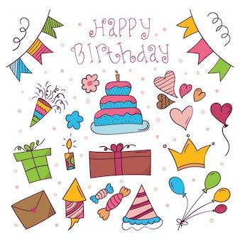 Etiqueta engomada colorida dibujada a mano feliz cumpleaños en estilo doodle