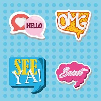 Etiqueta engomada cómica letras decoración moda estilo iconos puntos fondo vector ilustración