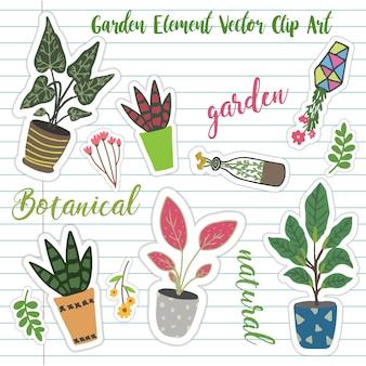 Etiqueta engomada del vector de planta jardín