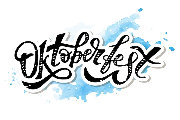 Etiqueta engomada del día de fiesta del texto del cepillo de la caligrafía de las letras de oktoberfest