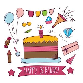 Etiqueta engomada dibujada mano feliz cumpleaños en estilo doodle