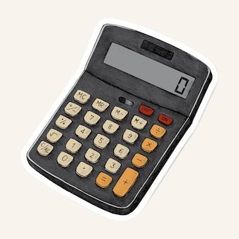 Etiqueta engomada del dibujo de la calculadora de la vendimia