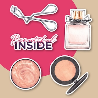 Etiqueta engomada con diseño de concepto de maquillaje para acuarela de publicidad y marketing.