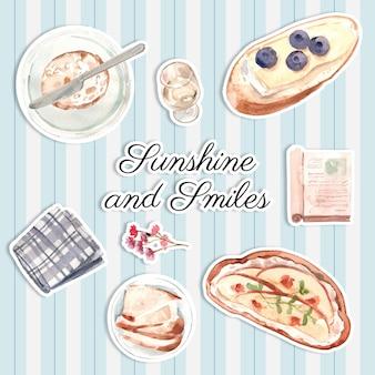 Etiqueta engomada con diseño de concepto de picnic europeo para ilustración acuarela de icono y logo.