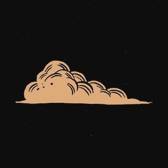 Etiqueta engomada del doodle del espacio dorado en la nube