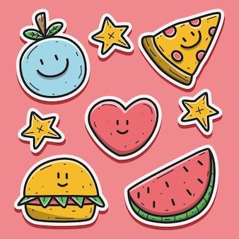 Etiqueta engomada del doodle de la historieta de la comida