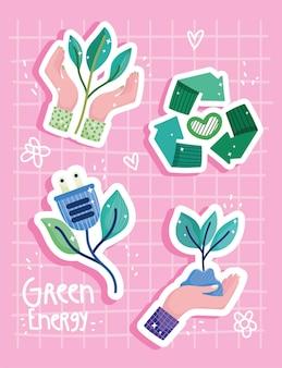 Etiqueta engomada de la energía verde