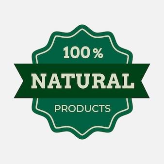 Etiqueta engomada del envasado de alimentos del vector del logotipo de la empresa de productos naturales