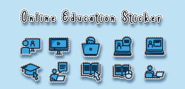 Etiqueta engomada de la escuela de educación en línea