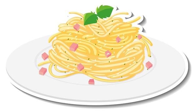 Etiqueta engomada de los espaguetis a la carbonara en blanco