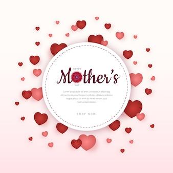 Etiqueta engomada feliz del corazón del día de la madre