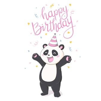 Etiqueta engomada feliz de la panda de birthray en el backround blanco.