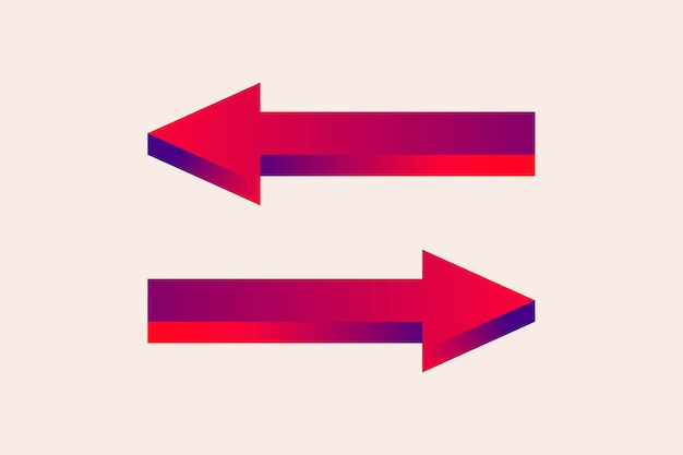 Etiqueta engomada de la flecha, señal de dirección de la carretera de tráfico bidireccional en vector de diseño degradado rojo