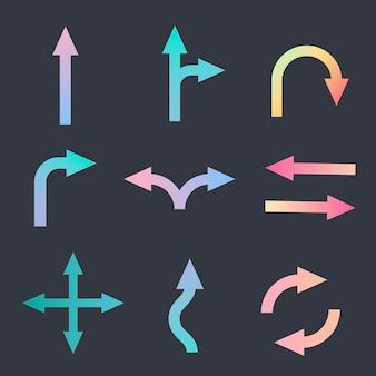 Etiqueta engomada de la flecha, vector de señal de tráfico en la colección de diseño holográfico