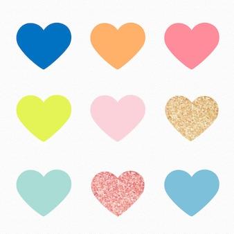 Etiqueta engomada de la forma del corazón, lindo conjunto de vectores de imágenes prediseñadas de san valentín en colores pastel