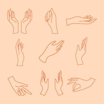 Etiqueta engomada del gesto de la mano, conjunto de ilustraciones de arte de línea mínima