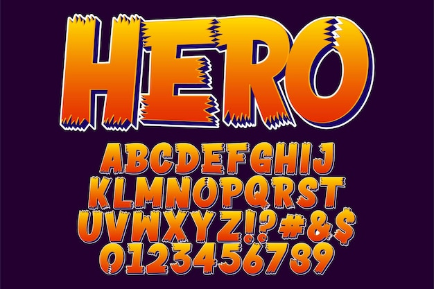 Etiqueta engomada del héroe fuente de dibujos animados de lujo