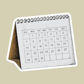 Etiqueta engomada de la historieta del calendario del dibujo del vector