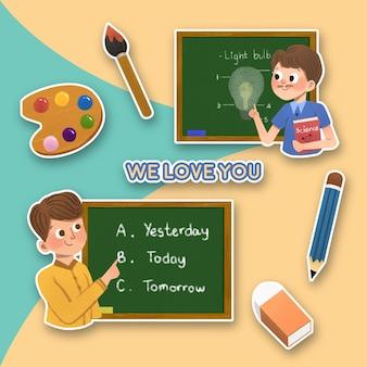 Etiqueta engomada de la historieta con el diseño del concepto del día del maestro