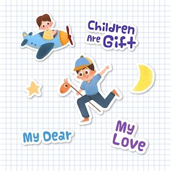 Etiqueta engomada de la historieta con el diseño del concepto del día del niño