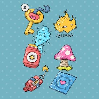 Etiqueta engomada de la historieta en el estilo de moda cómico de los años 80 y 90. vector doodle divertidas insignias.