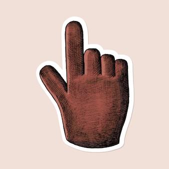 Etiqueta engomada del icono de la mano roja del vector