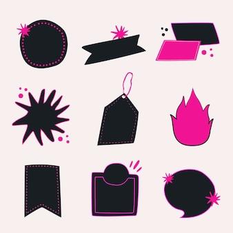 Etiqueta engomada de la insignia del doodle, colección de vector de imágenes prediseñadas en blanco negro