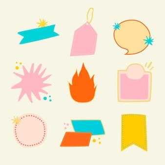 Etiqueta engomada de la insignia del doodle, conjunto de vector de imágenes prediseñadas en blanco pastel