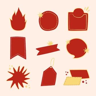 Etiqueta engomada de la insignia del doodle, conjunto de vector de imágenes prediseñadas en blanco rojo