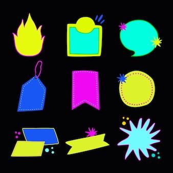 Etiqueta engomada de la insignia del doodle, conjunto de vectores de imágenes prediseñadas en blanco de neón