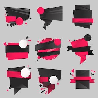 Etiqueta engomada de la insignia negra, conjunto de espacio de diseño de imágenes prediseñadas vectoriales en blanco