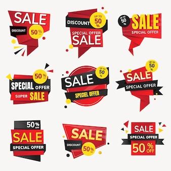 Etiqueta engomada de la insignia de venta, colección de imágenes prediseñadas de compras de vector