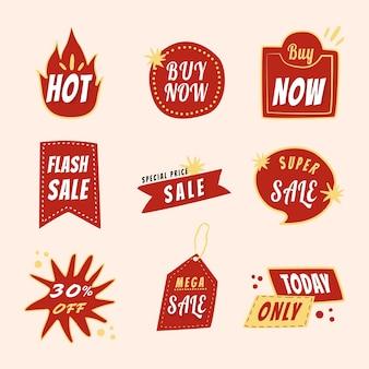 Etiqueta engomada de la insignia de venta, conjunto de vectores de imágenes prediseñadas de compras de doodle