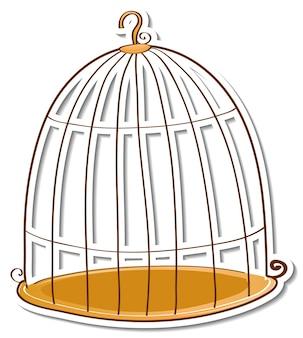 Etiqueta engomada de la jaula de pájaros vacía sobre fondo blanco