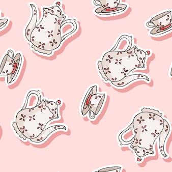 Etiqueta engomada del juego de té de la vendimia doodle colorido patrón transparente