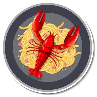 Etiqueta engomada de la langosta de espagueti sobre fondo blanco