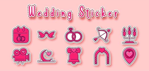 Etiqueta engomada linda de la boda