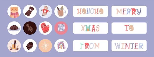 Etiqueta engomada linda del diario del diseño del elemento de la historia de instagram de navidad