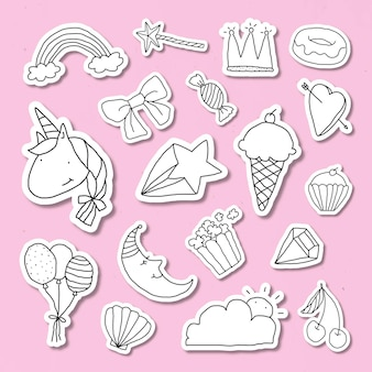 Etiqueta engomada linda del diario del estilo del doodle con un borde blanco en un vector de fondo rosa