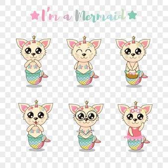 Etiqueta engomada linda de la sirena del gato fijada para los niños