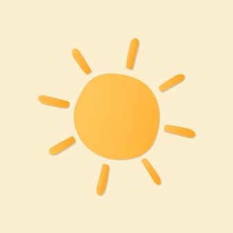 Etiqueta engomada linda del sol, vector de imágenes prediseñadas del tiempo imprimible